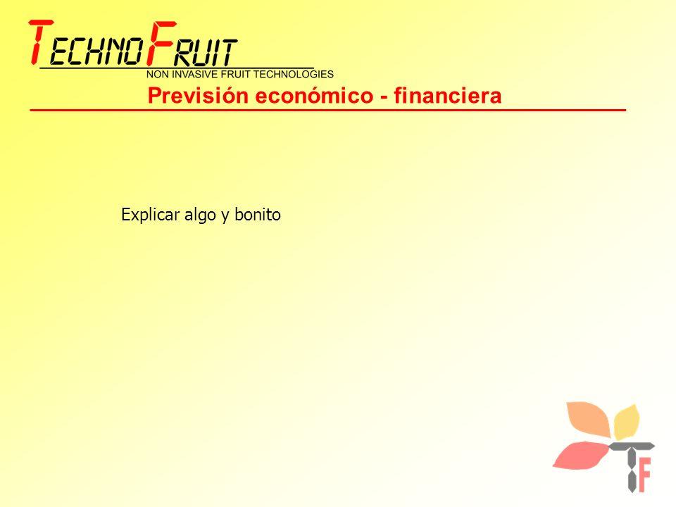 Previsión económico - financiera Explicar algo y bonito