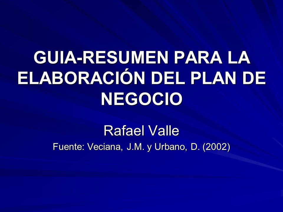 GUIA-RESUMEN PARA LA ELABORACIÓN DEL PLAN DE NEGOCIO Rafael Valle Fuente: Veciana, J.M. y Urbano, D. (2002)