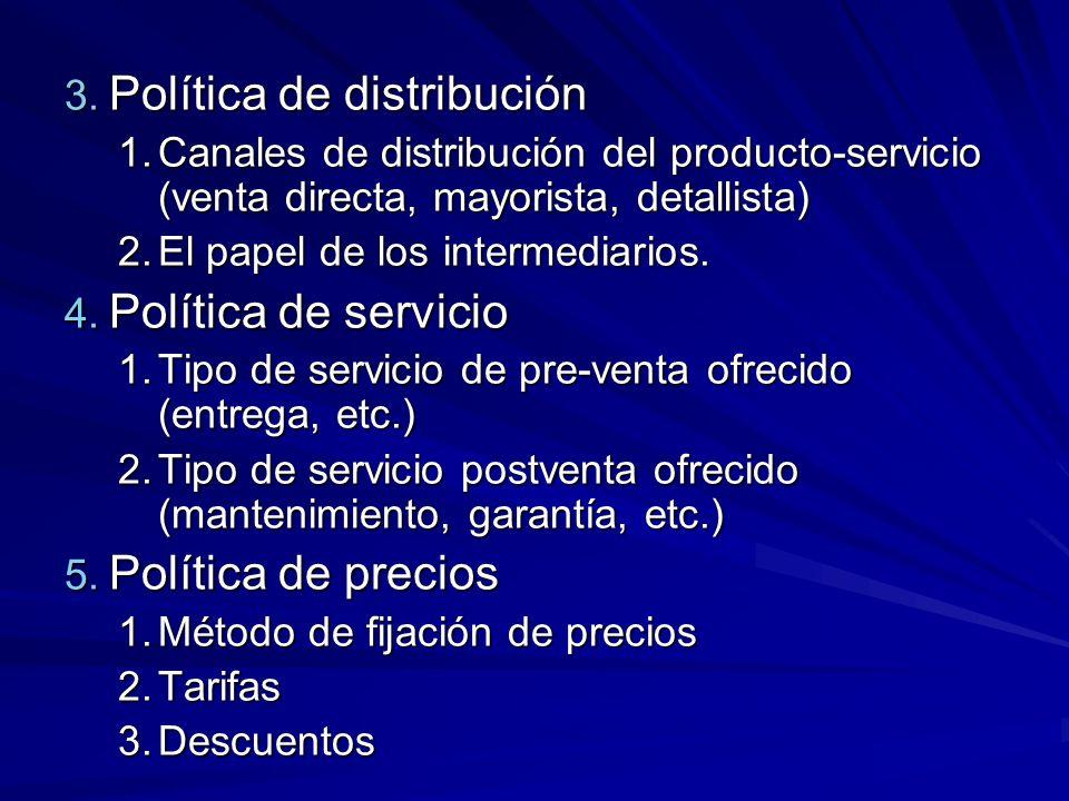 3. Política de distribución 1.Canales de distribución del producto-servicio (venta directa, mayorista, detallista) 2.El papel de los intermediarios. 4