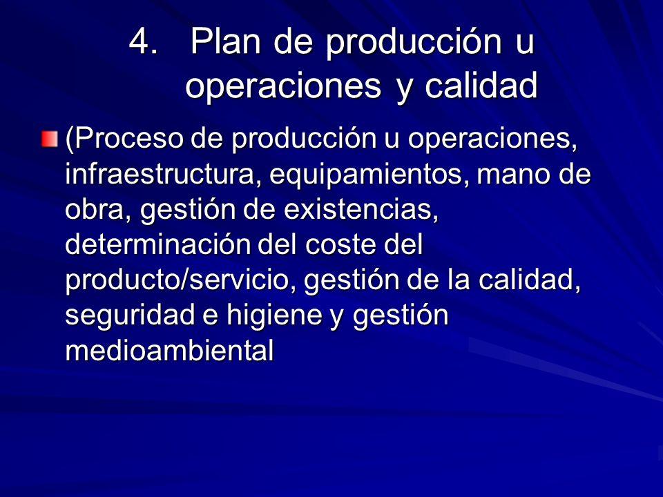 4.Plan de producción u operaciones y calidad (Proceso de producción u operaciones, infraestructura, equipamientos, mano de obra, gestión de existencia
