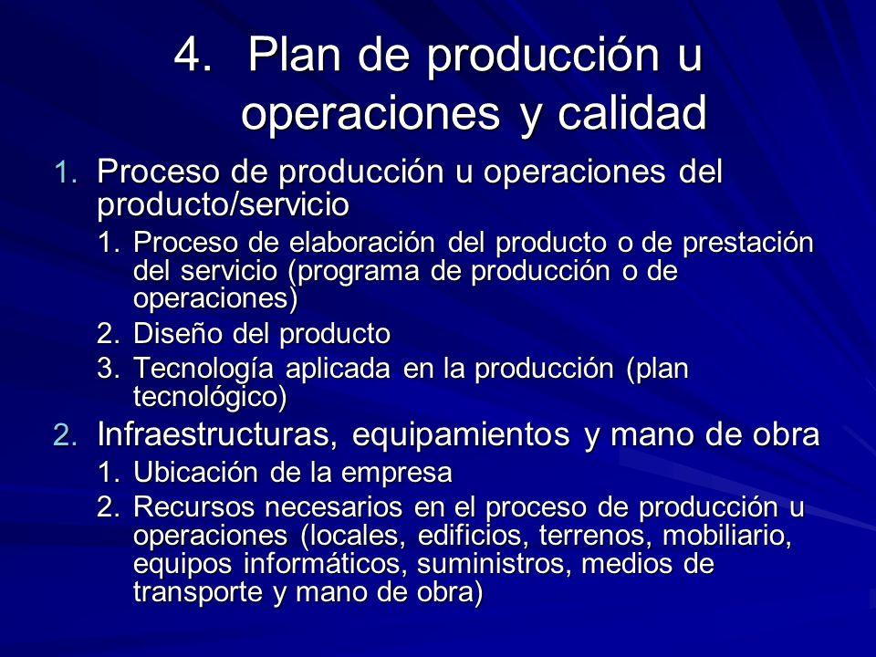 4.Plan de producción u operaciones y calidad 1. Proceso de producción u operaciones del producto/servicio 1.Proceso de elaboración del producto o de p