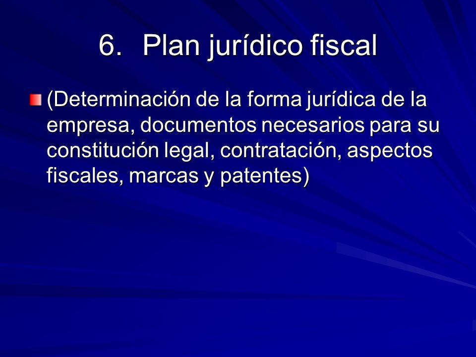 6.Plan jurídico fiscal (Determinación de la forma jurídica de la empresa, documentos necesarios para su constitución legal, contratación, aspectos fis