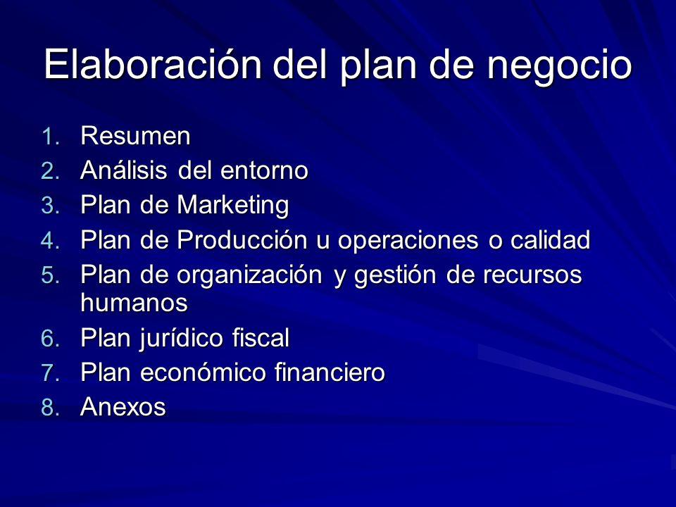 Elaboración del plan de negocio 1. Resumen 2. Análisis del entorno 3. Plan de Marketing 4. Plan de Producción u operaciones o calidad 5. Plan de organ