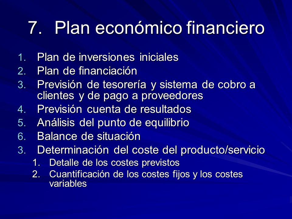 7.Plan económico financiero 1. Plan de inversiones iniciales 2. Plan de financiación 3. Previsión de tesorería y sistema de cobro a clientes y de pago