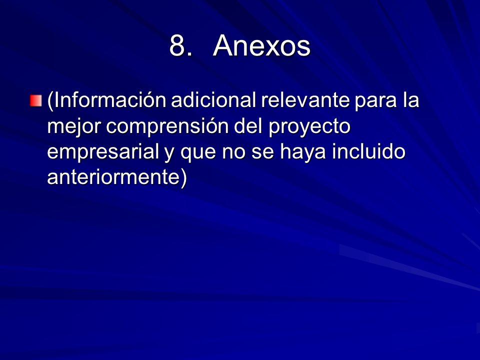8.Anexos (Información adicional relevante para la mejor comprensión del proyecto empresarial y que no se haya incluido anteriormente)