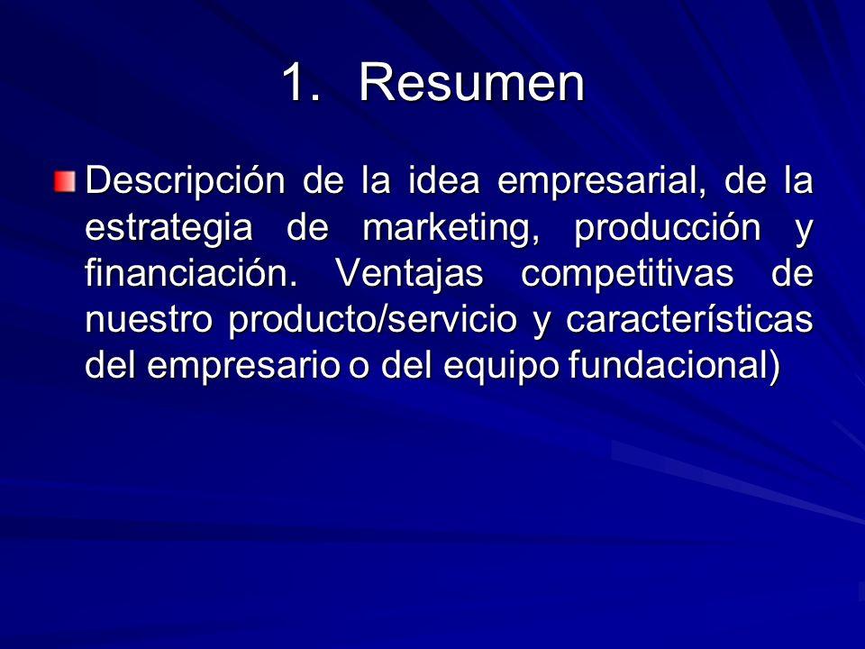 1.Resumen Descripción de la idea empresarial, de la estrategia de marketing, producción y financiación. Ventajas competitivas de nuestro producto/serv