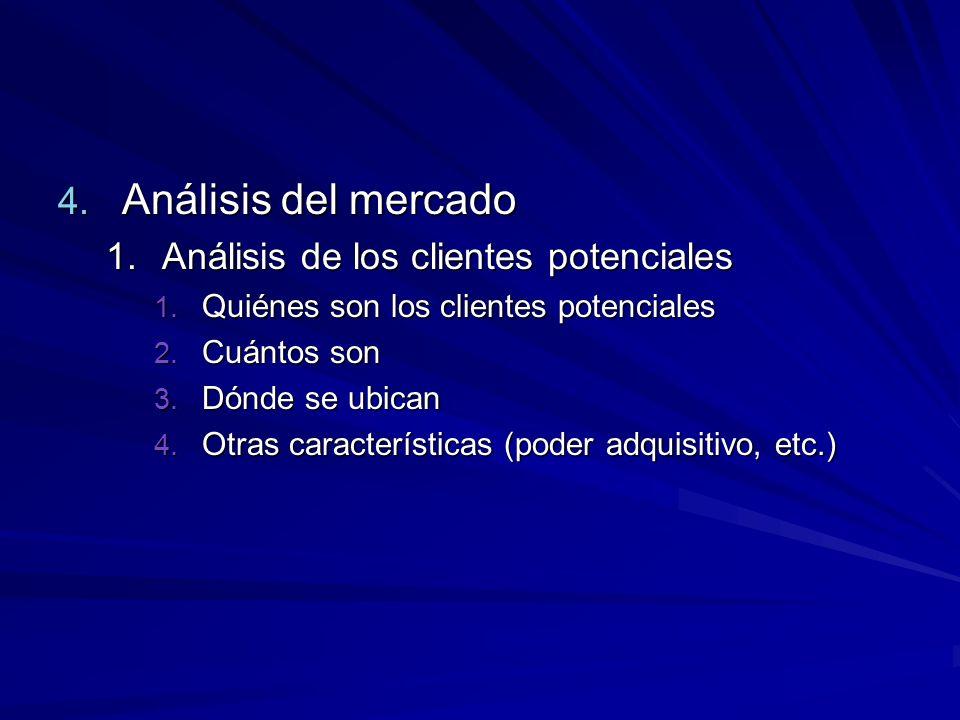 4. Análisis del mercado 1.Análisis de los clientes potenciales 1. Quiénes son los clientes potenciales 2. Cuántos son 3. Dónde se ubican 4. Otras cara