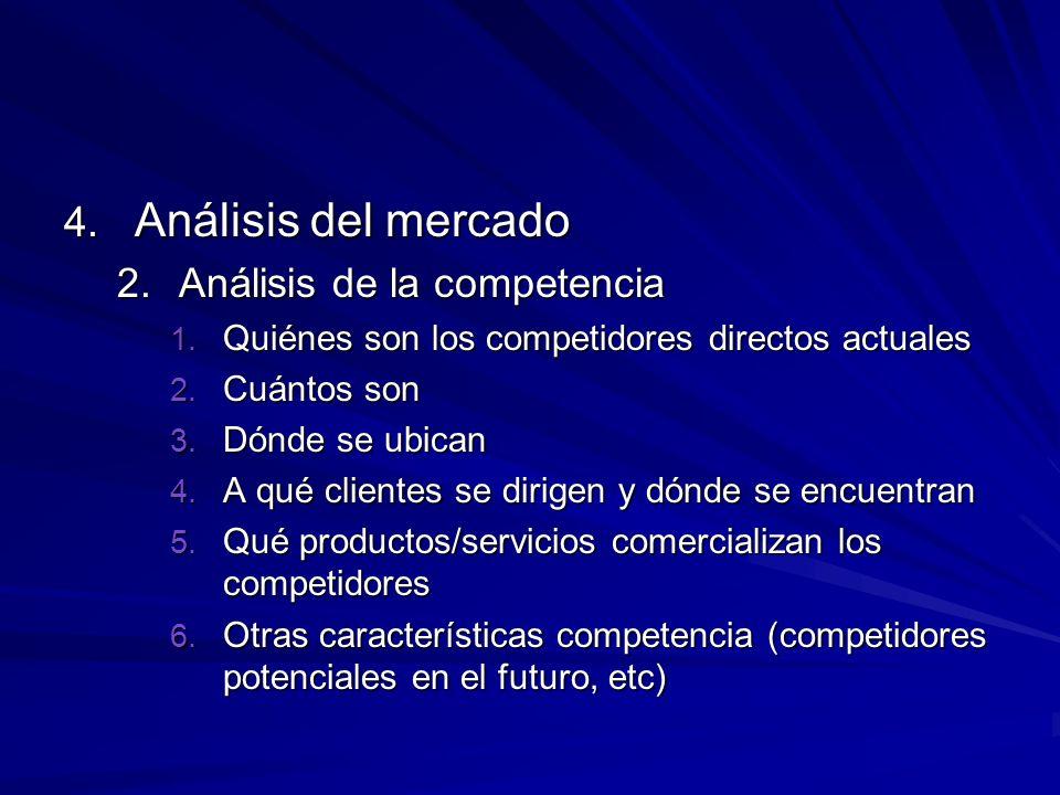 4. Análisis del mercado 2.Análisis de la competencia 1. Quiénes son los competidores directos actuales 2. Cuántos son 3. Dónde se ubican 4. A qué clie