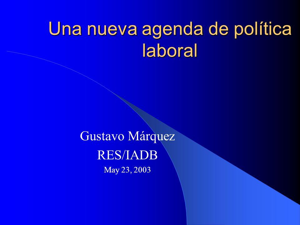 Una nueva agenda de política laboral Gustavo Márquez RES/IADB May 23, 2003
