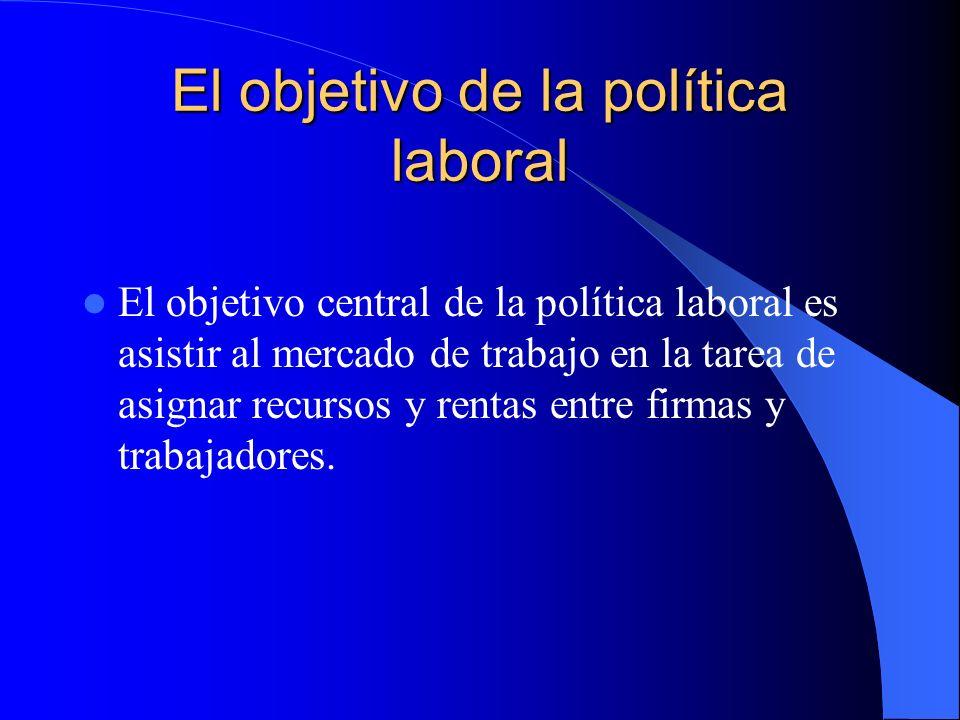 El objetivo de la política laboral El objetivo central de la política laboral es asistir al mercado de trabajo en la tarea de asignar recursos y rentas entre firmas y trabajadores.