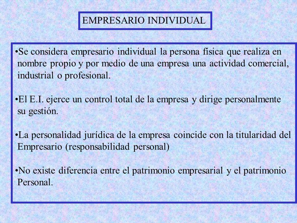 EMPRESARIO INDIVIDUAL Se considera empresario individual la persona física que realiza en nombre propio y por medio de una empresa una actividad comercial, industrial o profesional.