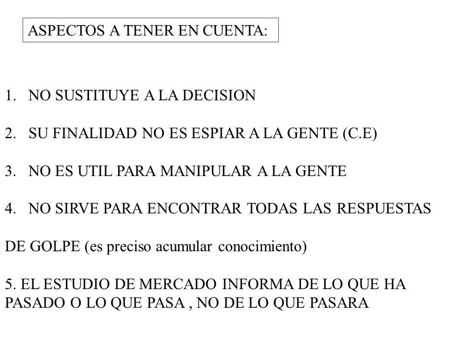 ASPECTOS A TENER EN CUENTA: 1.NO SUSTITUYE A LA DECISION 2.SU FINALIDAD NO ES ESPIAR A LA GENTE (C.E) 3.NO ES UTIL PARA MANIPULAR A LA GENTE 4.NO SIRV