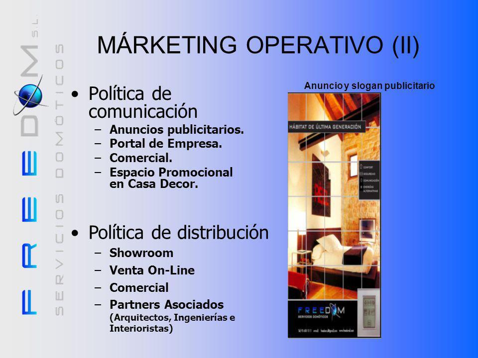MÁRKETING OPERATIVO (I) Política de producto –Clasificación según: Servicio. Tecnología. –Prioridad Atención al cliente. Política de precios –Según pa