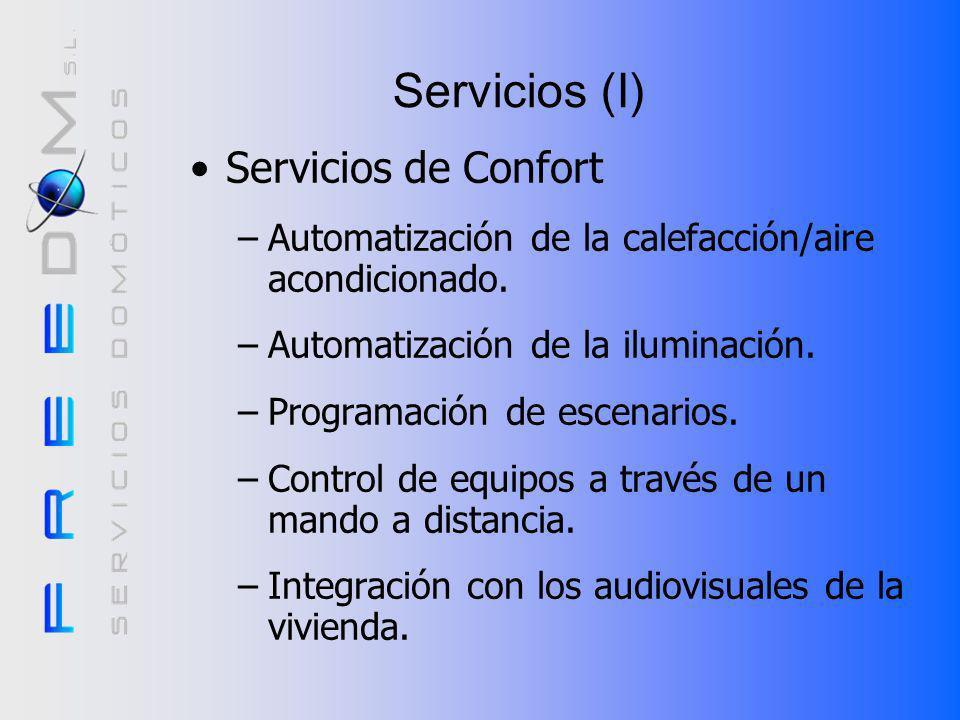 Servicios (I) Servicios de Confort –Automatización de la calefacción/aire acondicionado.