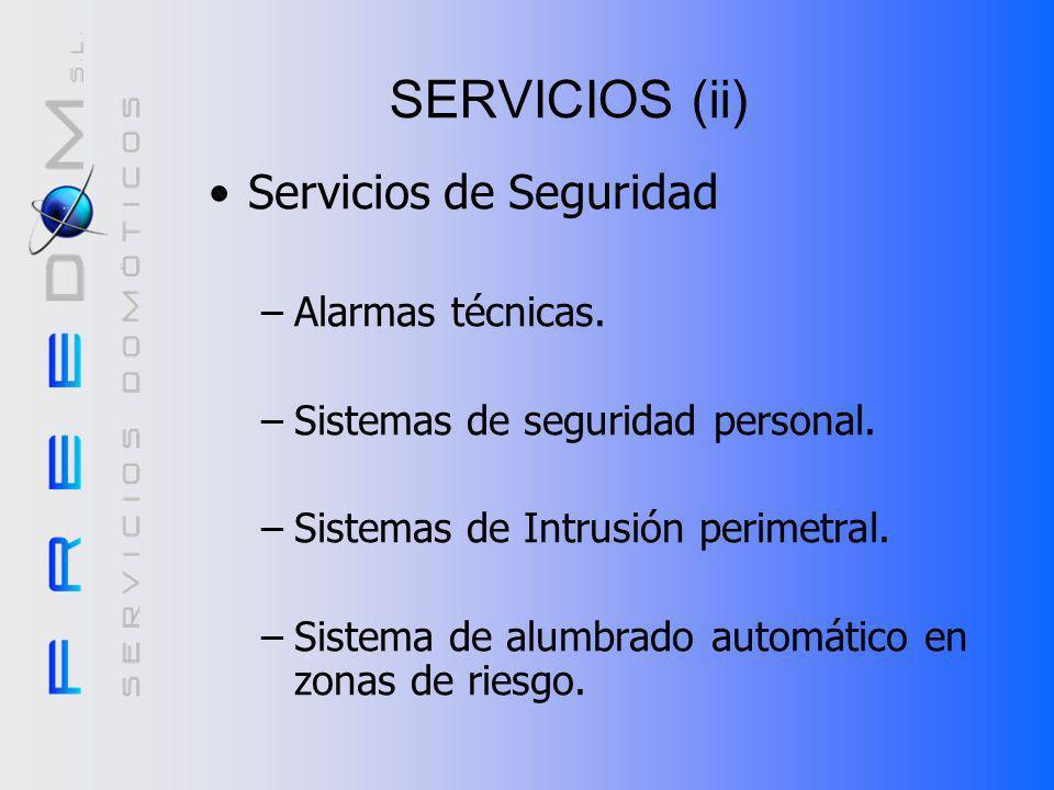 Servicios (I) Servicios de Confort –Automatización de la calefacción/aire acondicionado. –Automatización de la iluminación. –Programación de escenario