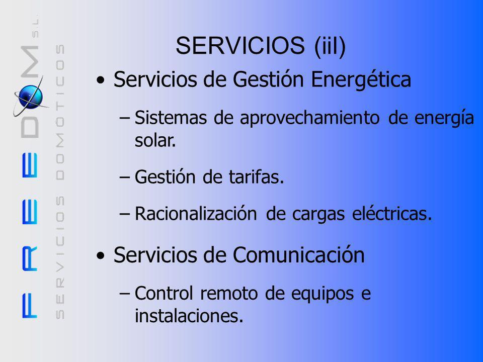 SERVICIOS (ii) Servicios de Seguridad –Alarmas técnicas. –Sistemas de seguridad personal. –Sistemas de Intrusión perimetral. –Sistema de alumbrado aut