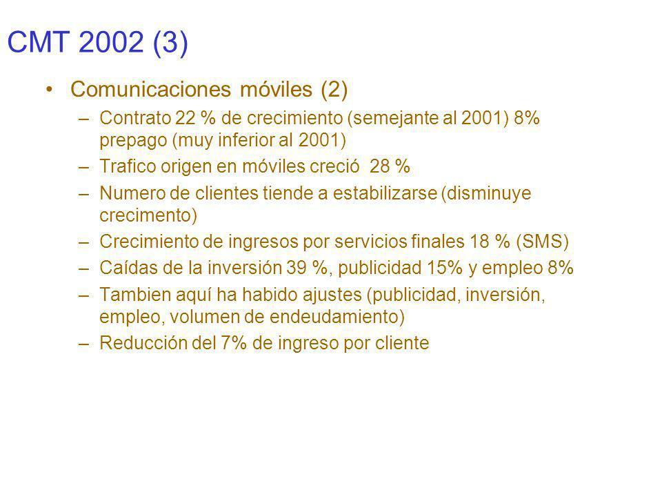 CMT 2002 4) Cable –Tendencia a la comercialización de servicios (crecimiento clientes un 57 %) disminución 44% de la inversión –Cuota de mercado en clientes de acceso directo 9%, posibilidad de competir en el 50% de clientes (6 millones de hogares pasados) –Ingresos crecieron el 72%,( es el 2% del sector) y caída del empleo en 14% –Comercialización de servicios para rentabilizar la inversión, que ha motivado el crecimiento de la facturación y el numero de clientes.