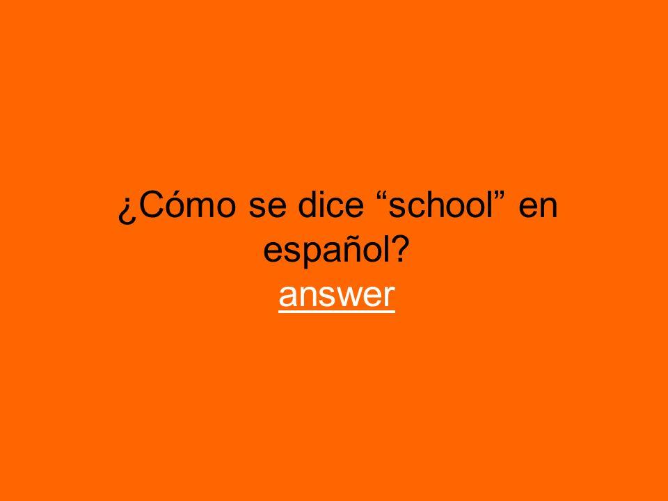 ¿Cómo se dice school en español? answer answer