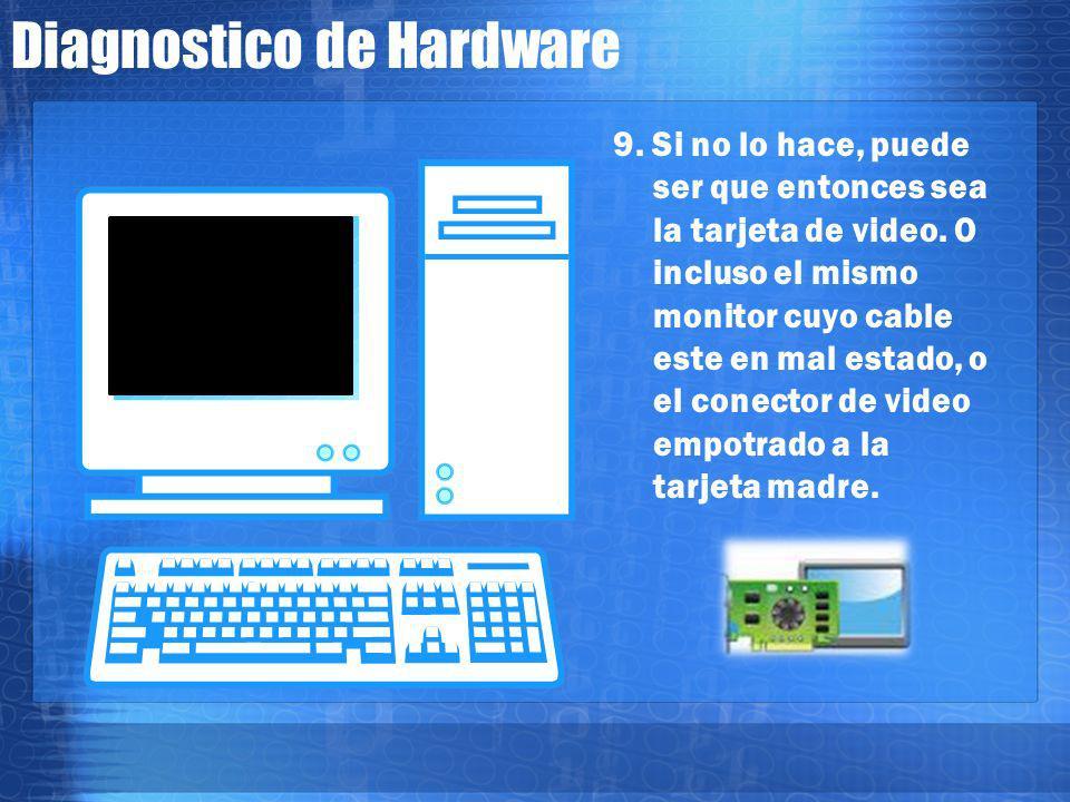 Diagnostico de Hardware 8. Aquí habrá que observar el monitor para ver si nos muestra información o no. Algunas veces, aun cuando no tiene memoria o f