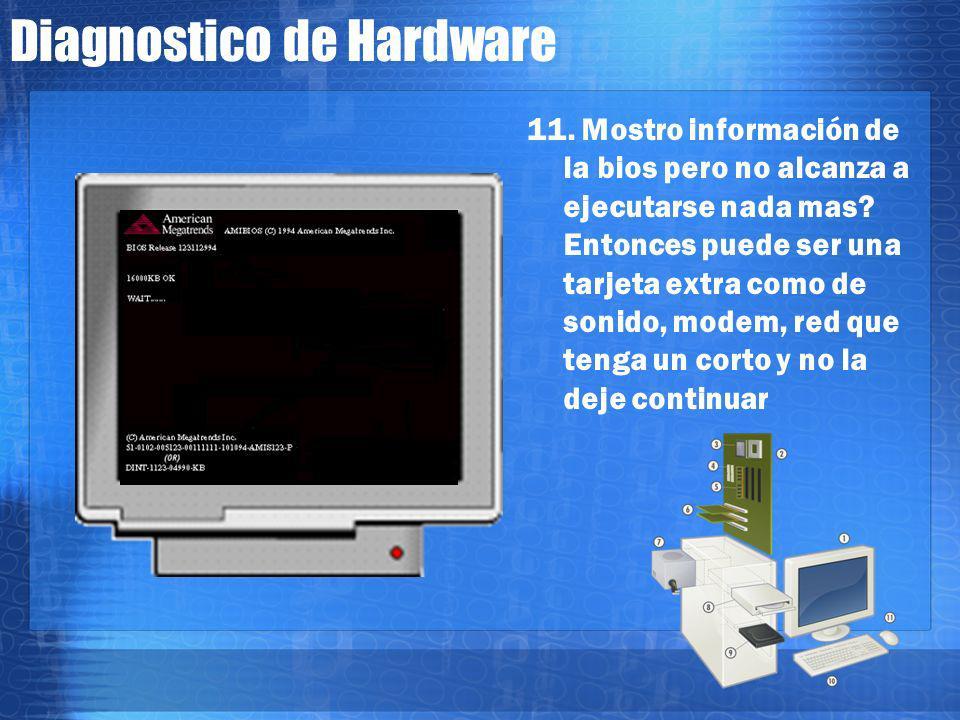 Diagnostico de Hardware 10. Siguio su curso y se quedo a mitad de despliegue del BIOS? Algunas motherboards fallan o se traban si el conector del tecl