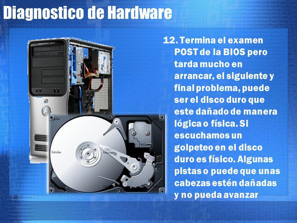 Diagnostico de Hardware 11. Mostro información de la bios pero no alcanza a ejecutarse nada mas? Entonces puede ser una tarjeta extra como de sonido,