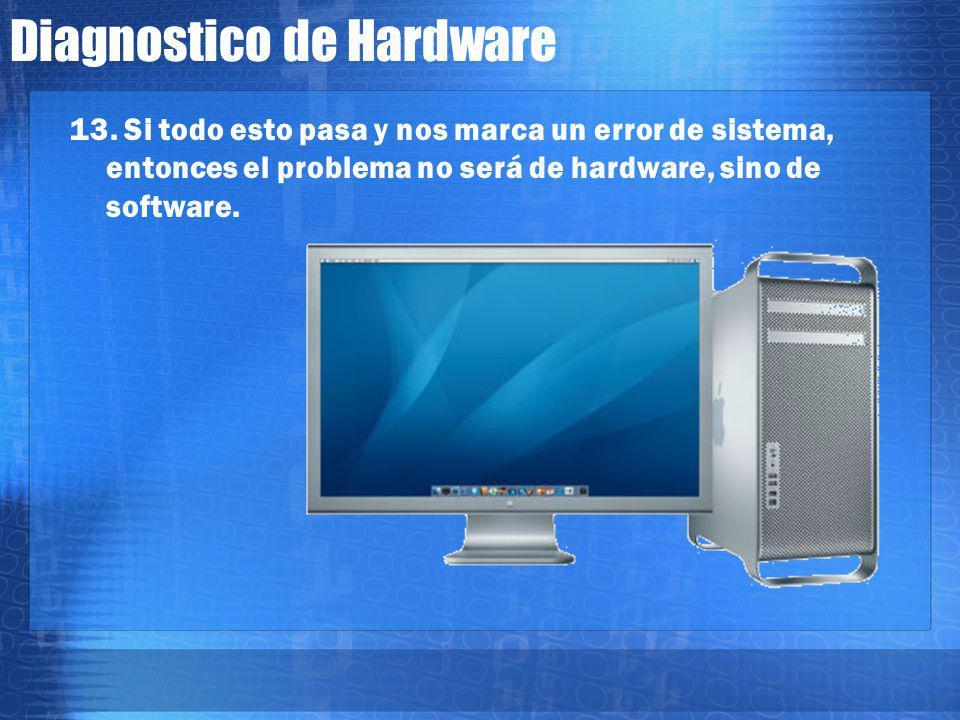 Diagnostico de Hardware 13. Tambien habrá que revisar que no este algún diskette o cdrom insertado. En ocasiones, el dispositivo de cdrom crea conflic