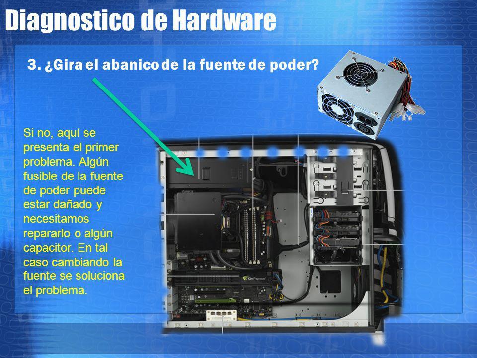 Diagnostico de Hardware 2. Aqui la corriente comienza a fluir, llegando en primer termino a la fuente de poder