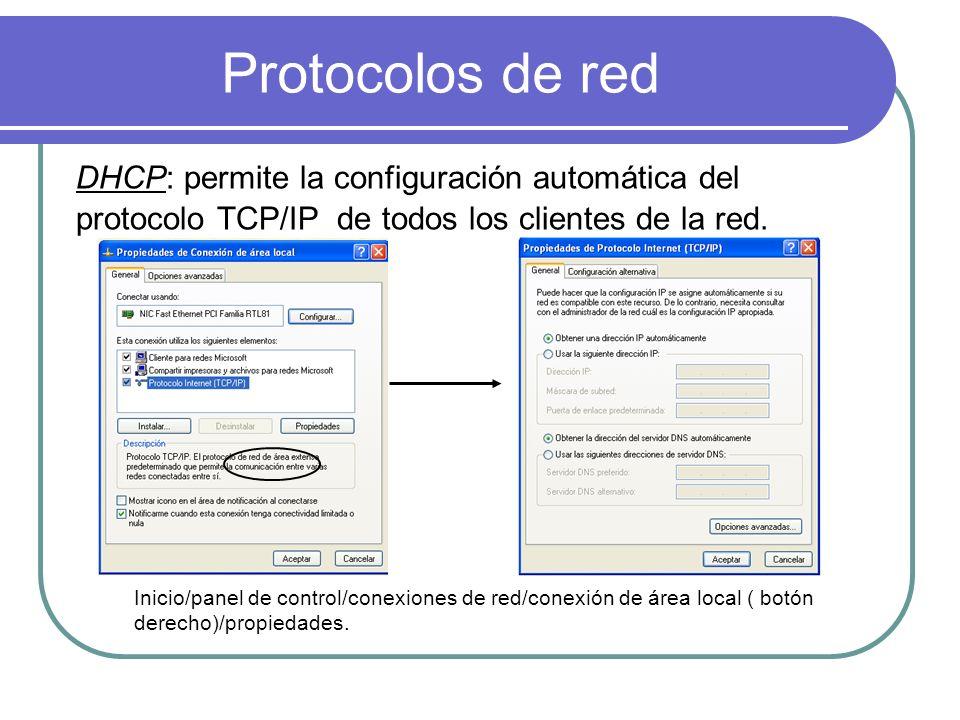 Protocolos de red DHCP: permite la configuración automática del protocolo TCP/IP de todos los clientes de la red. Inicio/panel de control/conexiones d