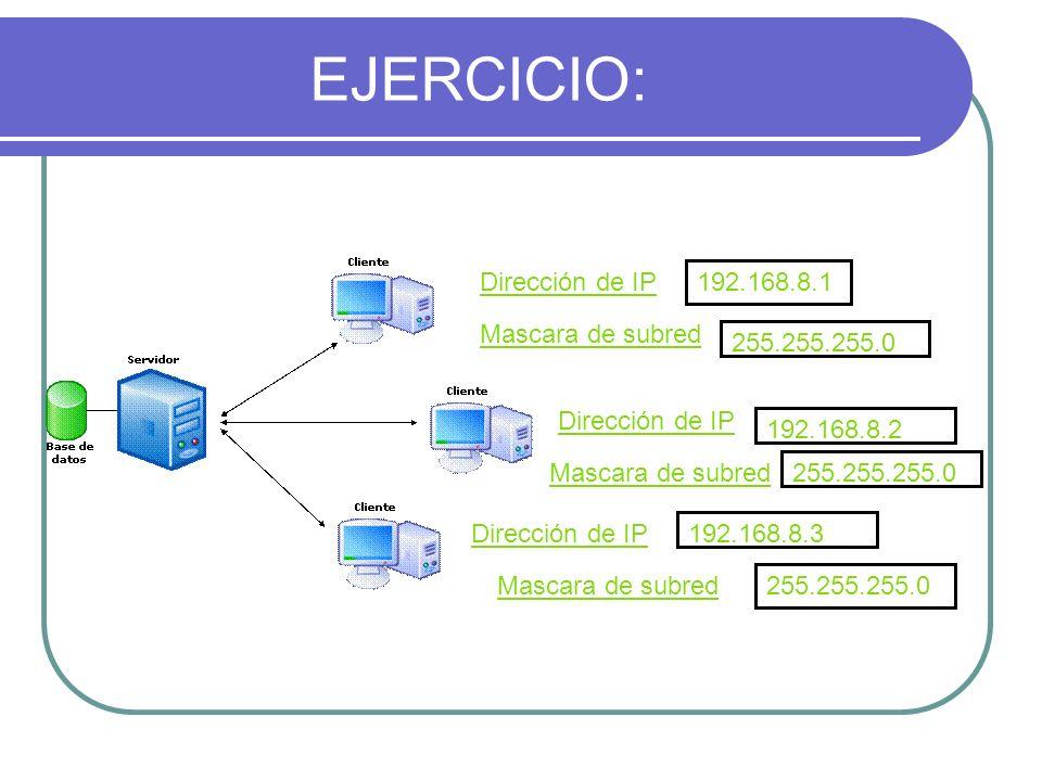 EJERCICIO: Dirección de IP192.168.8.1 Mascara de subred 255.255.255.0 Dirección de IP Mascara de subred Dirección de IP Mascara de subred 192.168.8.2