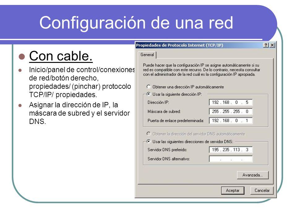 Configuración de una red Con cable. Inicio/panel de control/conexiones de red/botón derecho, propiedades/ (pinchar) protocolo TCP/IP/ propiedades. Asi