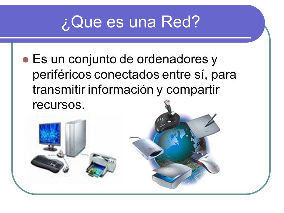 ¿Que es una Red? Es un conjunto de ordenadores y periféricos conectados entre sí, para transmitir información y compartir recursos.