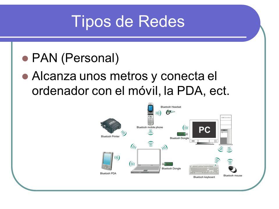 Tipos de Redes PAN (Personal) Alcanza unos metros y conecta el ordenador con el móvil, la PDA, ect.