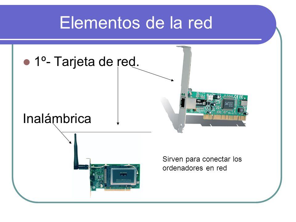 Elementos de la red 1º- Tarjeta de red. Inalámbrica Sirven para conectar los ordenadores en red