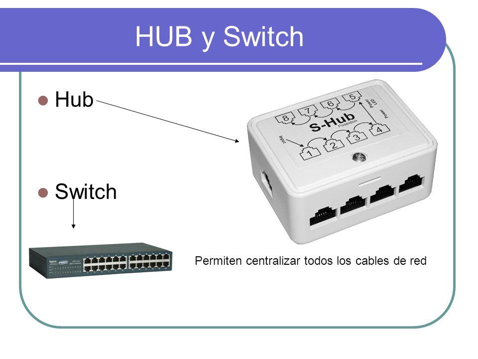 HUB y Switch Hub Switch Permiten centralizar todos los cables de red