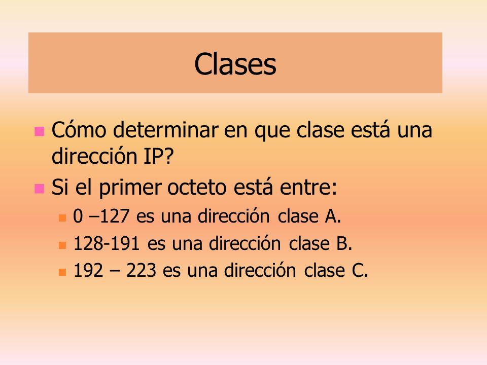 Clases Cómo determinar en que clase está una dirección IP? Si el primer octeto está entre: 0 –127 es una dirección clase A. 128-191 es una dirección c