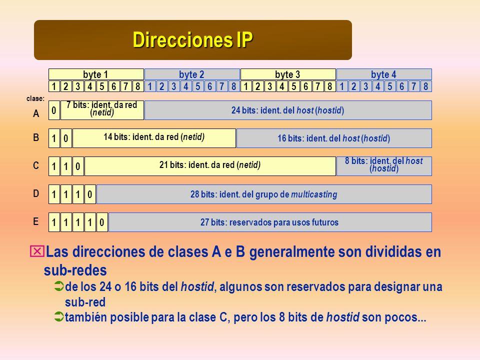 Direcciones IP 1234567812345678 byte 1byte 2 1234567812345678 byte 3byte 4 0 1 1 0 11 7 bits: ident. da red ( netid) 14 bits: ident. da red ( netid) 2