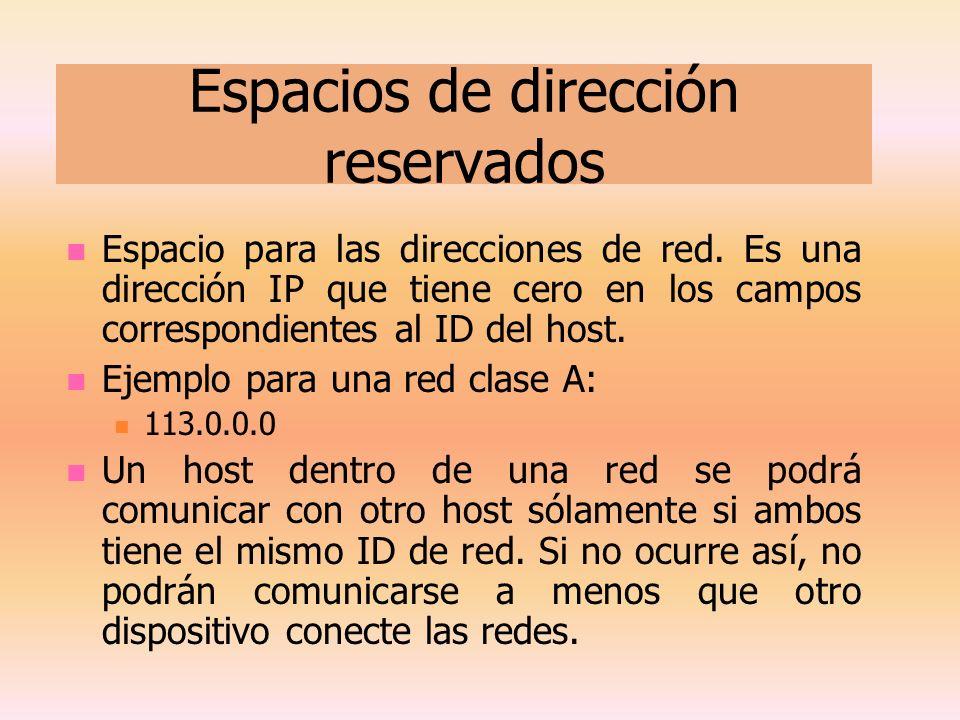 Espacios de dirección reservados Espacio para las direcciones de red. Es una dirección IP que tiene cero en los campos correspondientes al ID del host