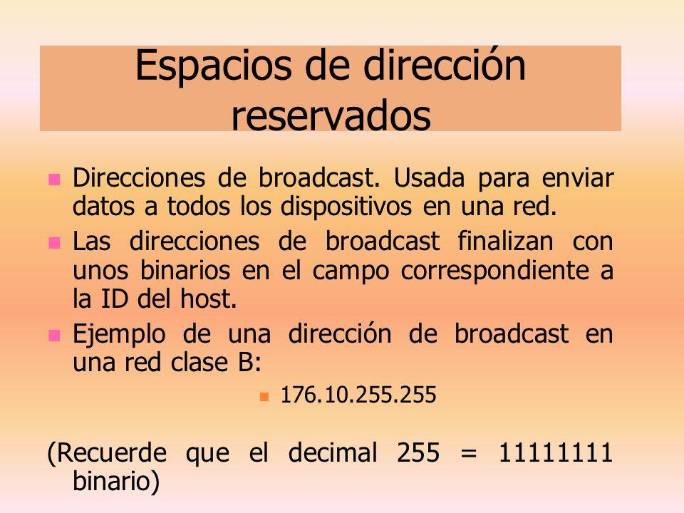 Espacios de dirección reservados Direcciones de broadcast. Usada para enviar datos a todos los dispositivos en una red. Las direcciones de broadcast f