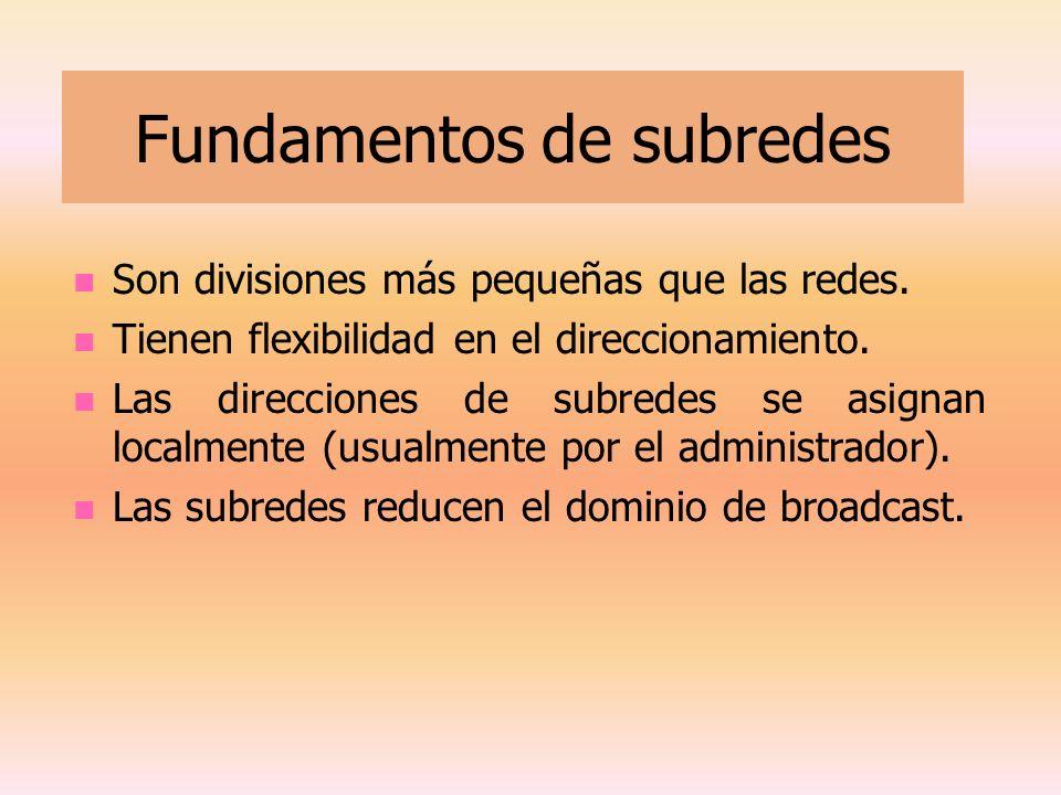 Fundamentos de subredes Son divisiones más pequeñas que las redes. Tienen flexibilidad en el direccionamiento. Las direcciones de subredes se asignan
