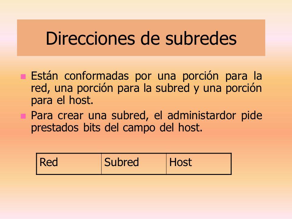 Direcciones de subredes Están conformadas por una porción para la red, una porción para la subred y una porción para el host. Para crear una subred, e