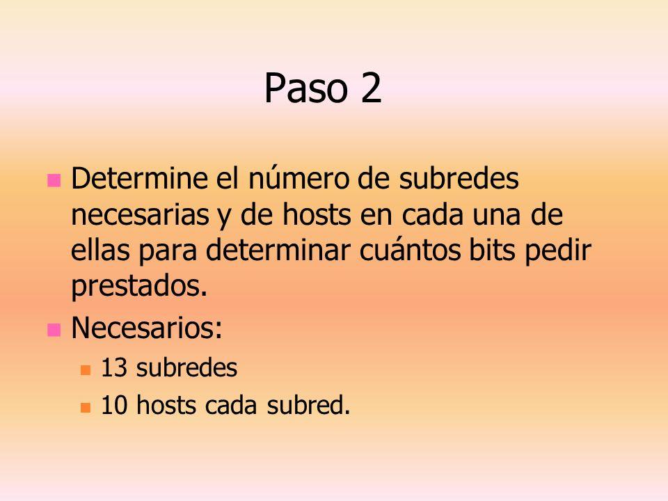 Paso 2 Determine el número de subredes necesarias y de hosts en cada una de ellas para determinar cuántos bits pedir prestados. Necesarios: 13 subrede
