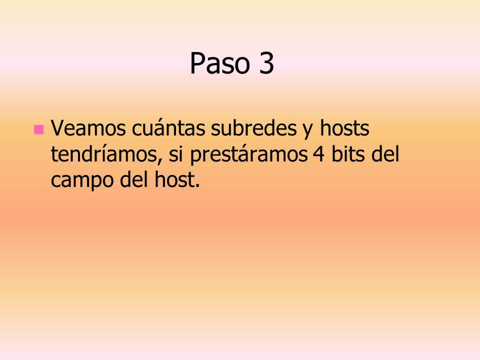 Paso 3 Veamos cuántas subredes y hosts tendríamos, si prestáramos 4 bits del campo del host.