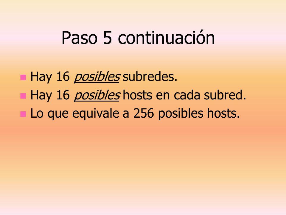 Paso 5 continuación Hay 16 posibles subredes. Hay 16 posibles hosts en cada subred. Lo que equivale a 256 posibles hosts.