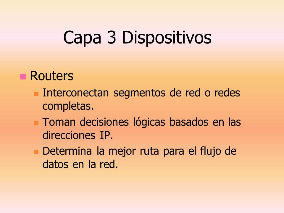 Capa 3 Dispositivos Routers Interconectan segmentos de red o redes completas. Toman decisiones lógicas basados en las direcciones IP. Determina la mej