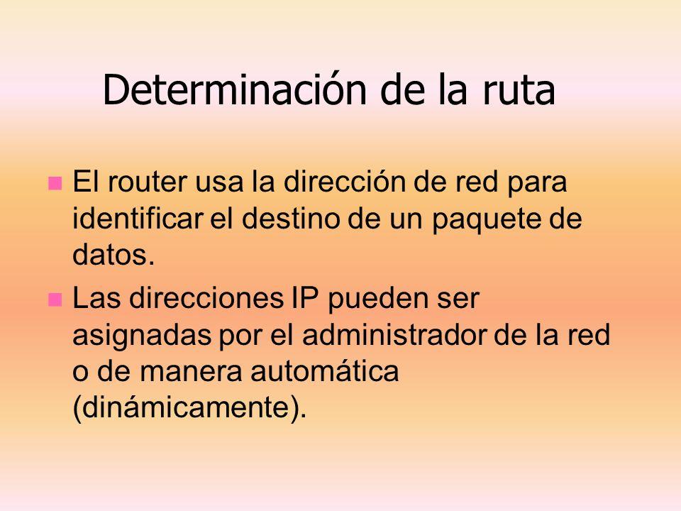 Determinación de la ruta El router usa la dirección de red para identificar el destino de un paquete de datos. Las direcciones IP pueden ser asignadas