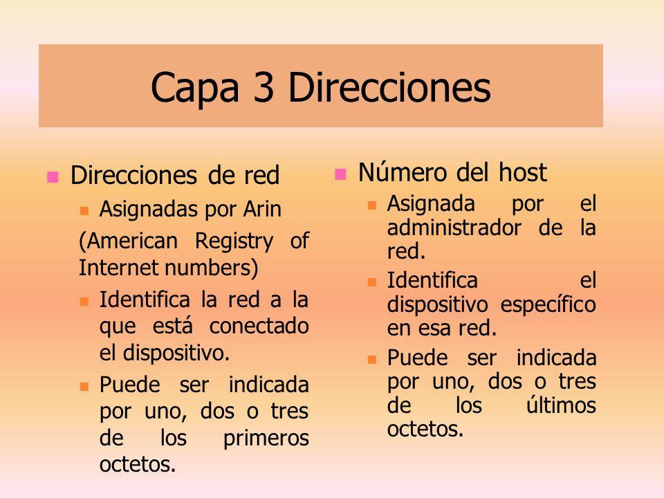 Capa 3 Direcciones Direcciones de red Asignadas por Arin (American Registry of Internet numbers) Identifica la red a la que está conectado el disposit