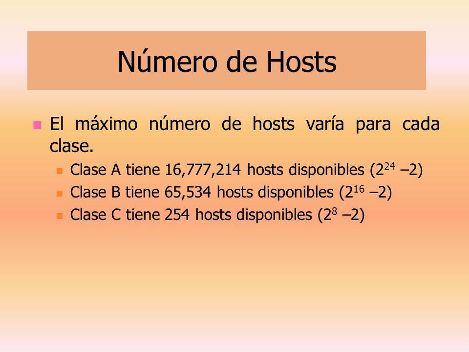 Número de Hosts El máximo número de hosts varía para cada clase. Clase A tiene 16,777,214 hosts disponibles (2 24 –2) Clase B tiene 65,534 hosts dispo