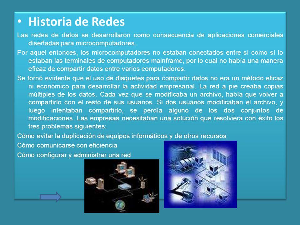 Historia de Redes Las redes de datos se desarrollaron como consecuencia de aplicaciones comerciales diseñadas para microcomputadores. Por aquel entonc