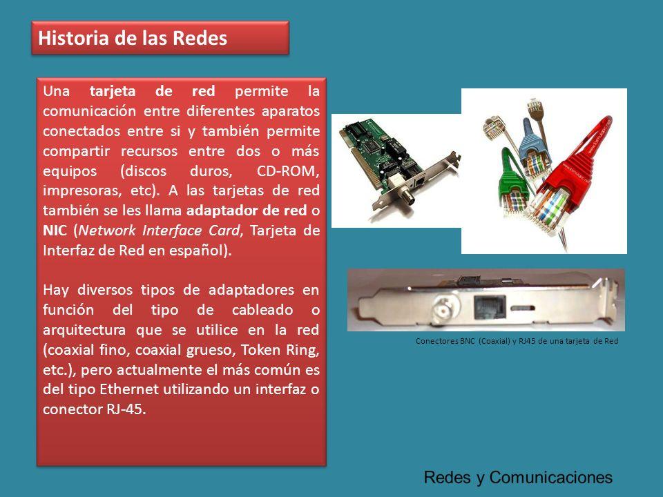 Historia de las Redes Una tarjeta de red permite la comunicación entre diferentes aparatos conectados entre si y también permite compartir recursos en