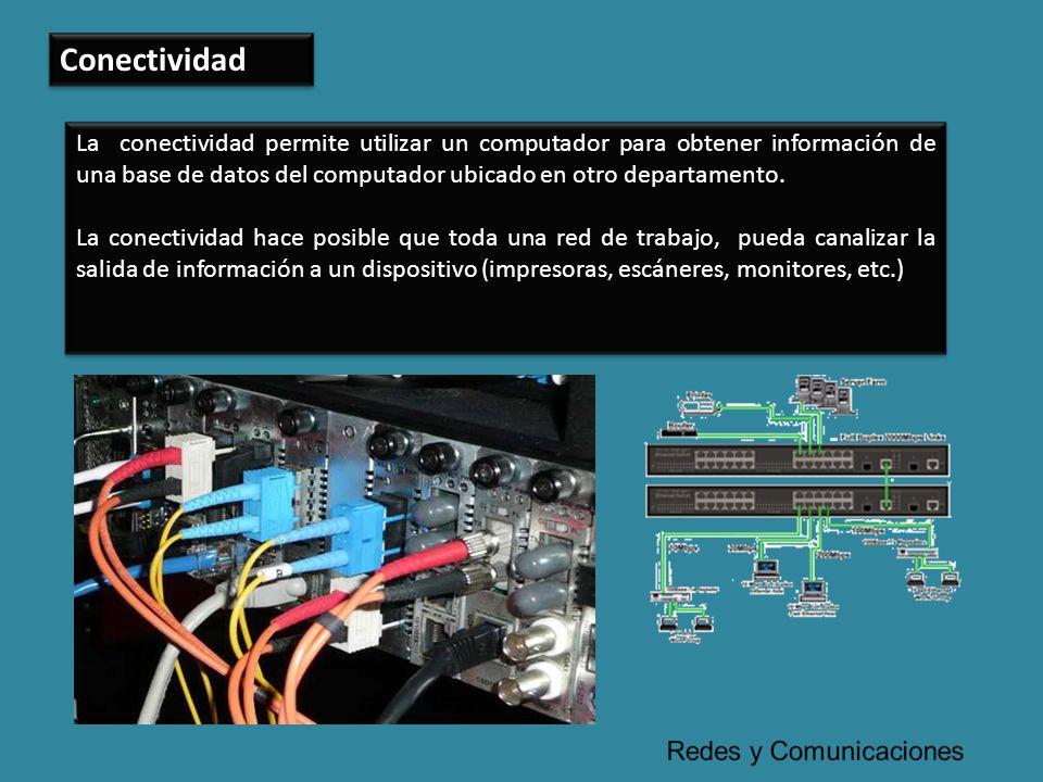 Conectividad La conectividad permite utilizar un computador para obtener información de una base de datos del computador ubicado en otro departamento.